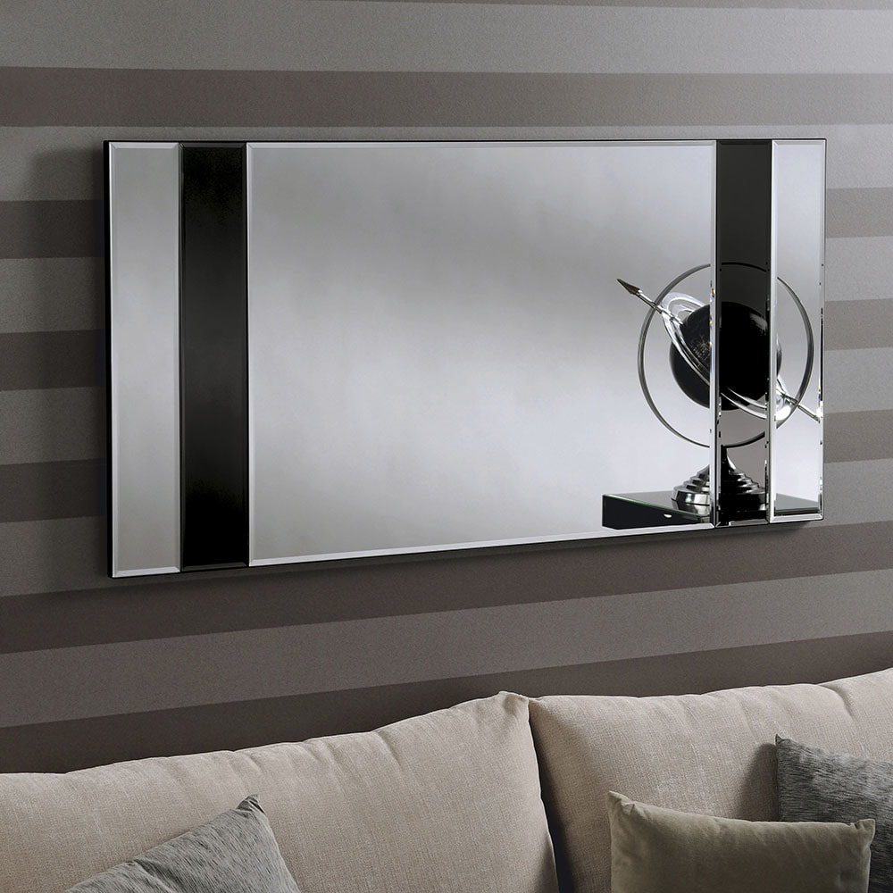 Athena Grey Art Deco Mirror Wall Mirror Frameless