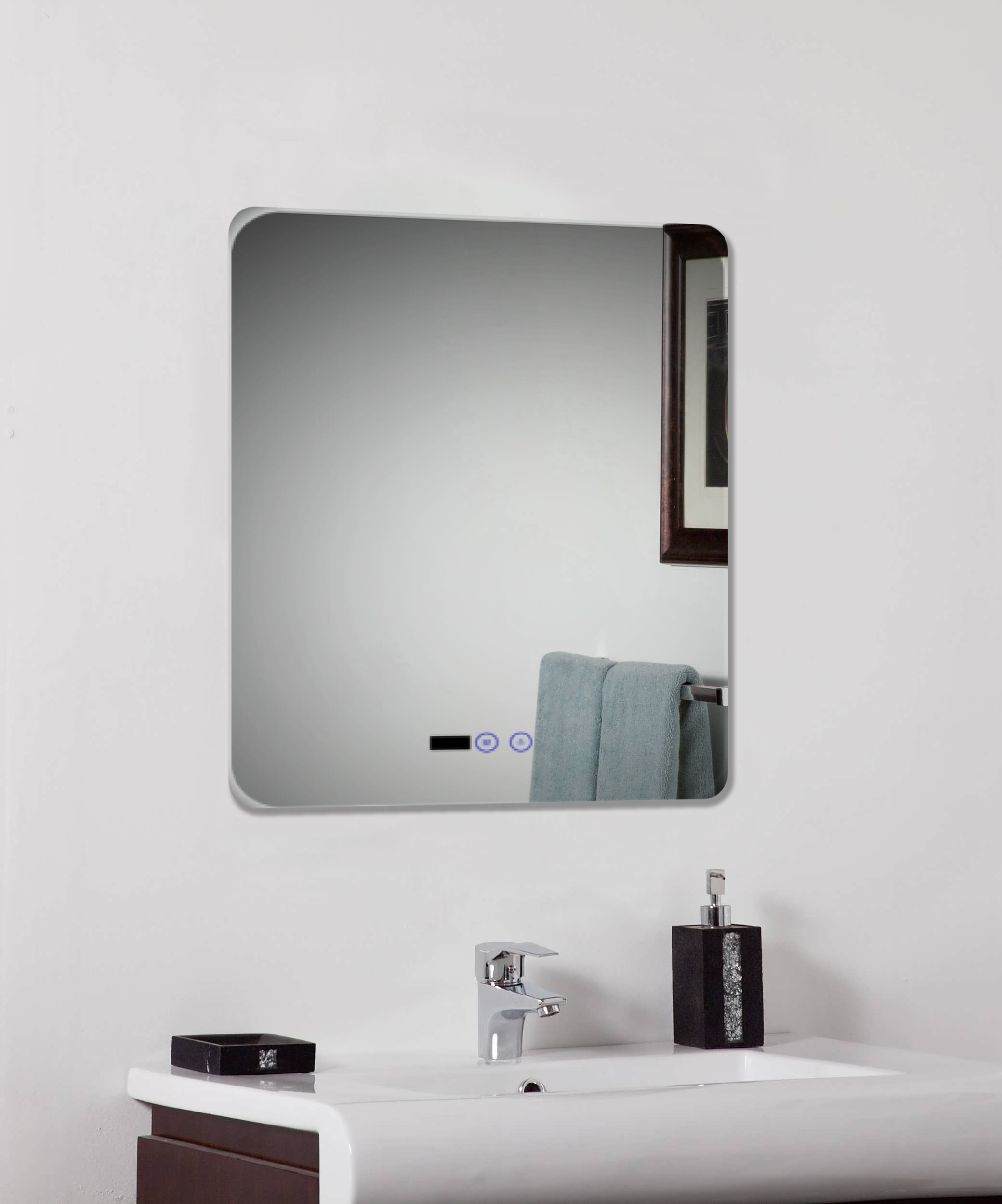 FDO LED ID2 Bathroom mirror with digital clock heated pad and sensor ...