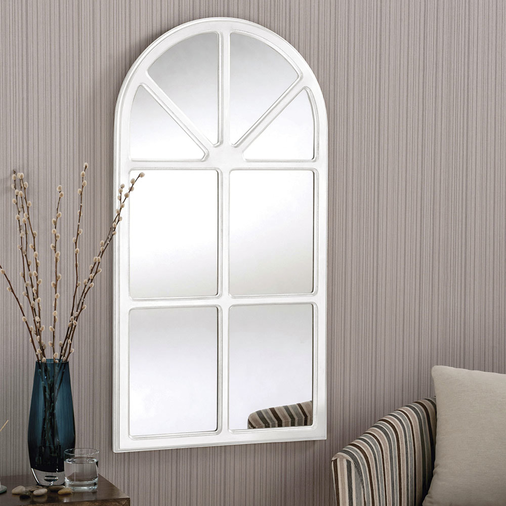 Yg90 Silver Contemporary Window Style Arched Framed Mirror
