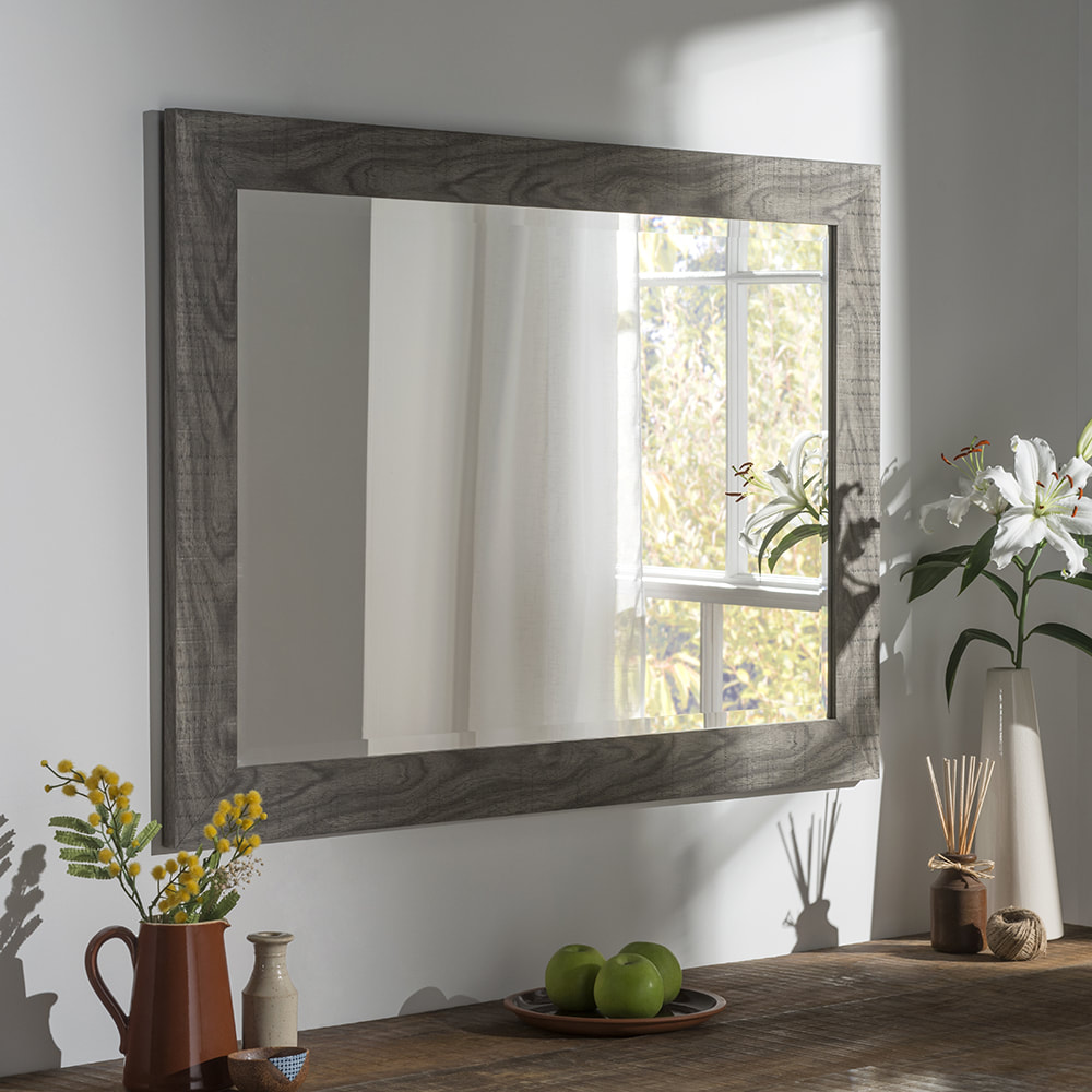Yg214 White Rectangle Wall Mirror With Modern Flat Frame