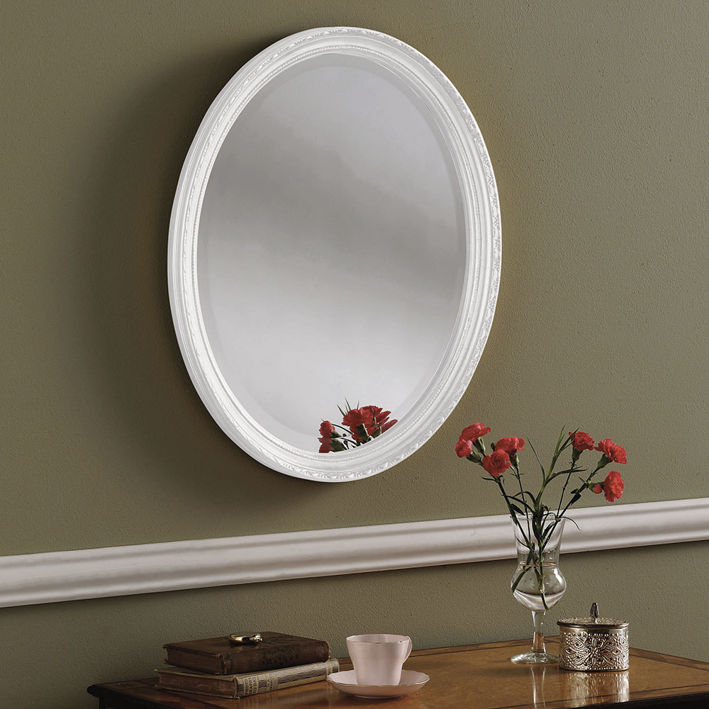 Yg0821 White Decorative Oval Hall Mirror Available In