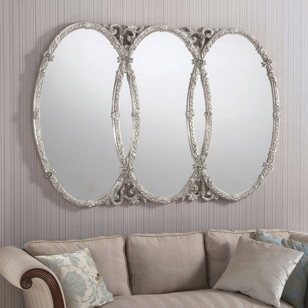 Yg240 White Large Triple Oval Ornate Mirror Decorative