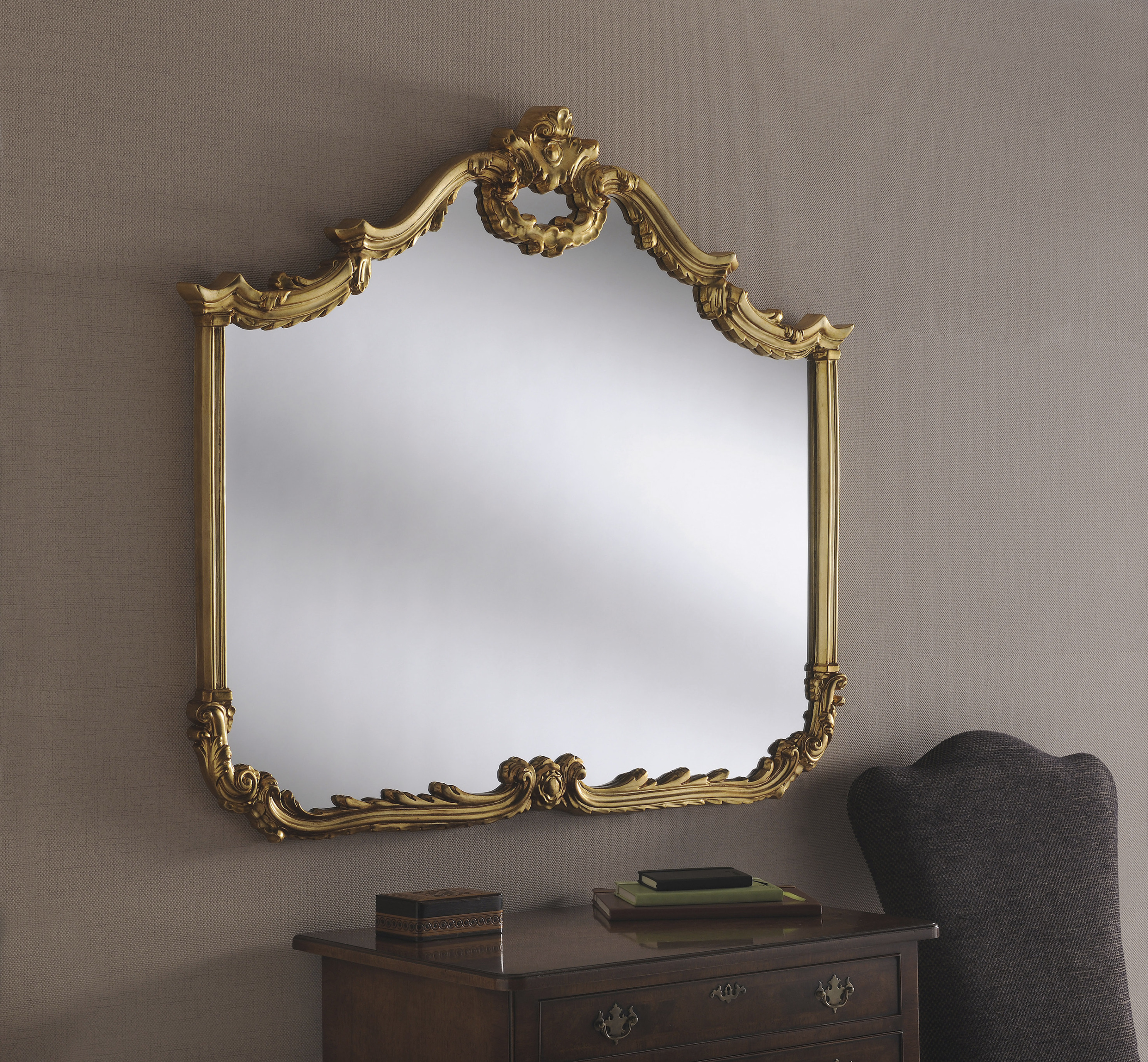 Yg209 Silver Ornate Decorative Large Overmantle Mirror