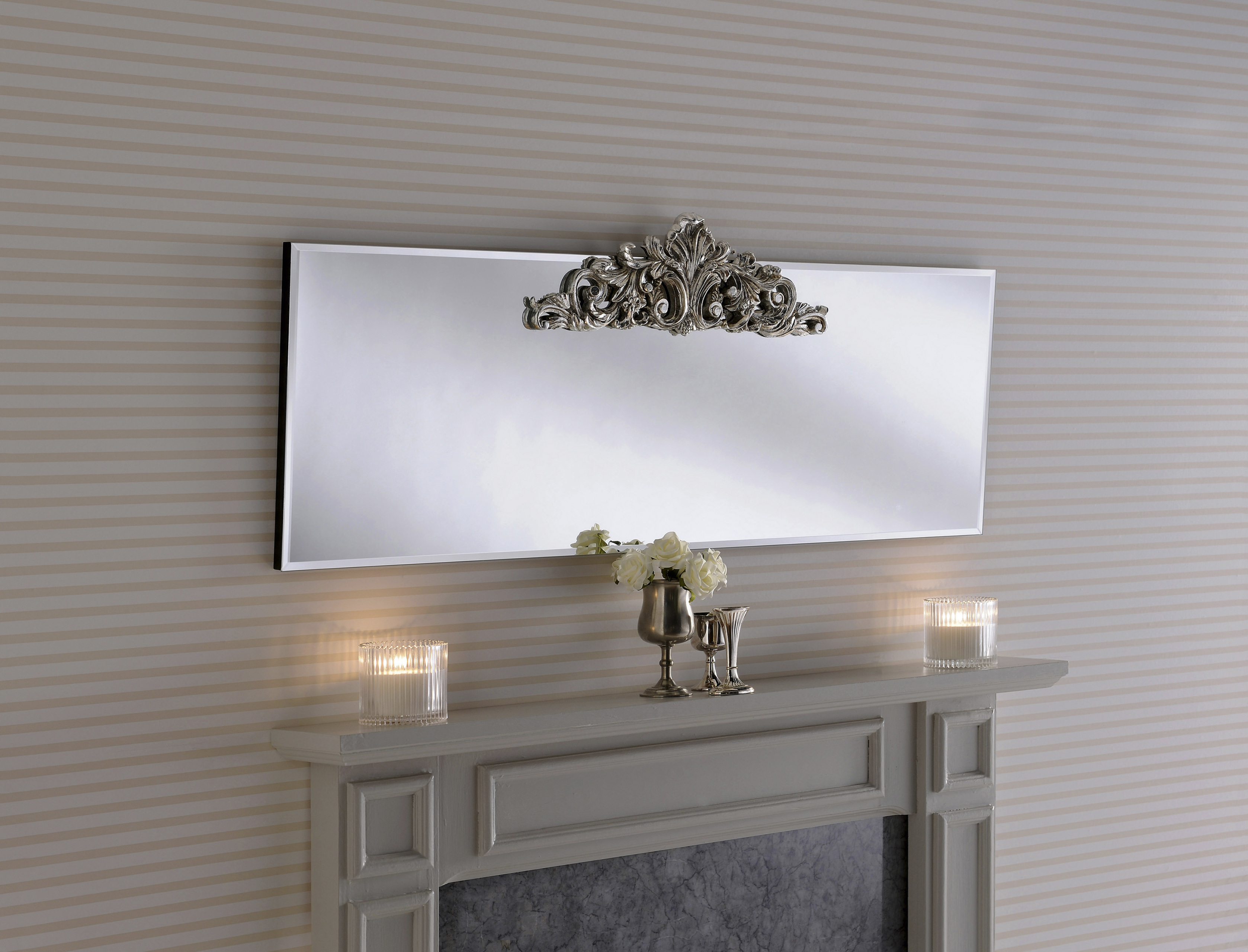 Lombardy Overmantle Mirror With Carved Decorative Feature