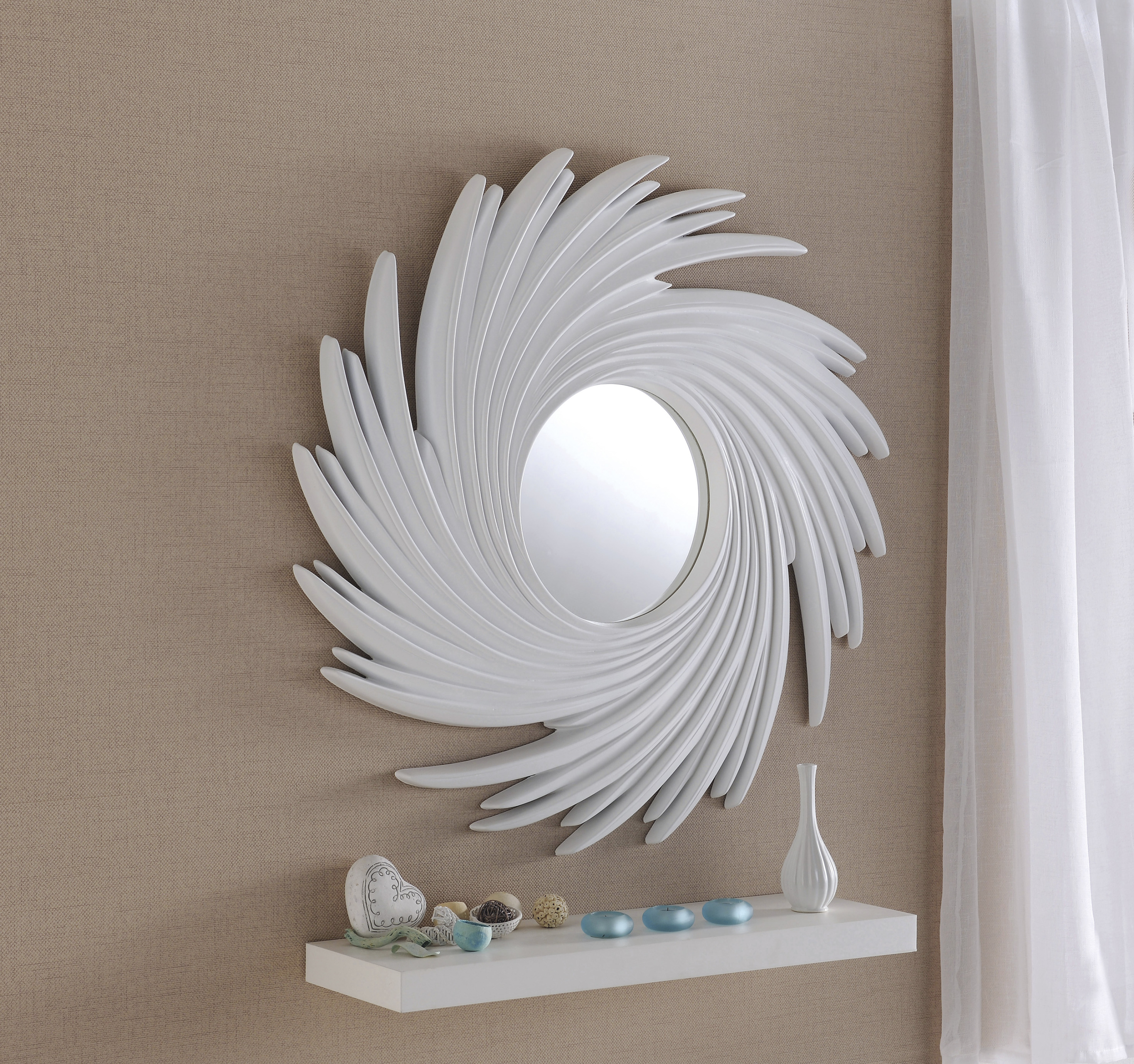 Art 295 Silver Mirror With Swirl Round Contemporary Sun