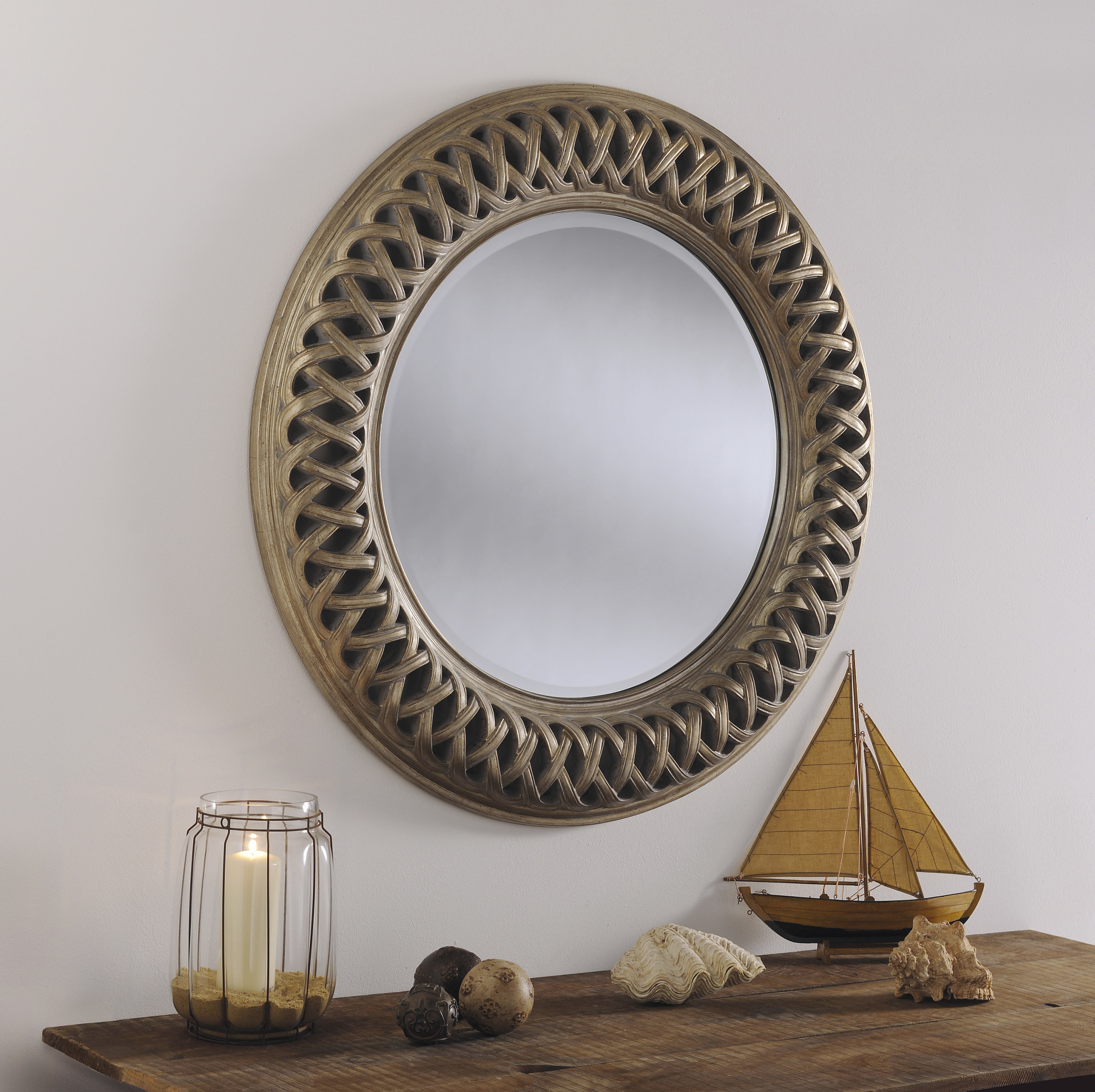 Ov24 Ivory Celtic Designe Large Round Wall Mirror Living