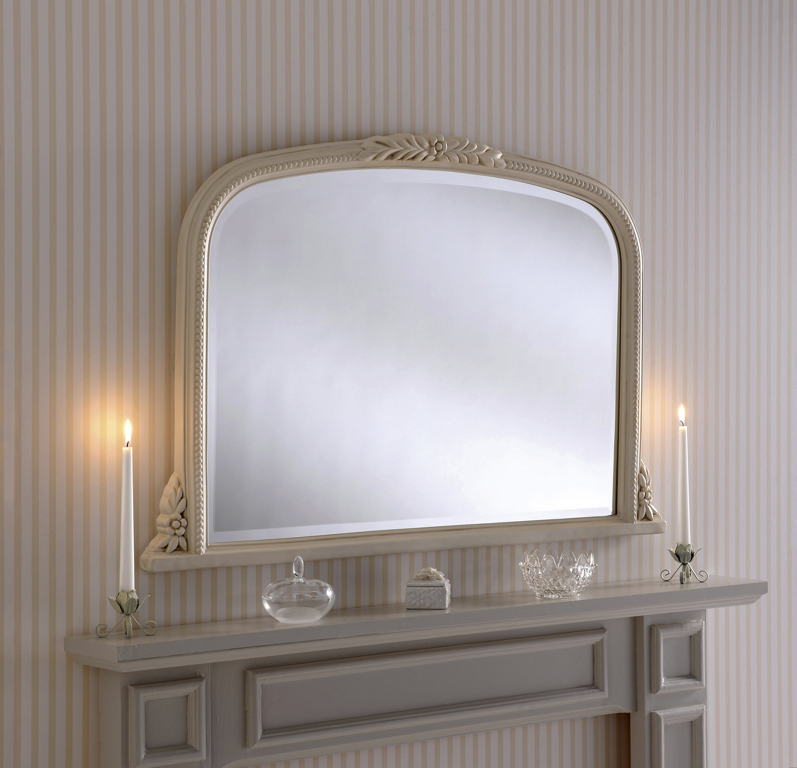 m301 decorative ivory fire overmantle mirror. Black Bedroom Furniture Sets. Home Design Ideas